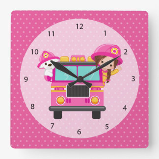 Cute firefighter square wall clock