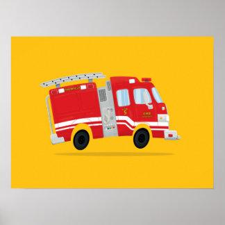 Cute Firetruck Art Poster