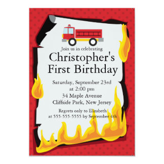 Cute Firetruck fireman Birthday Party 5x7 Paper Invitation Card