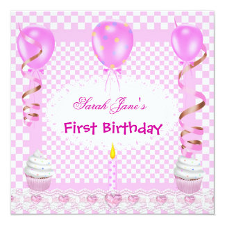 Cute First Birthday 1st Girl Pink Balloons Cupcake Card