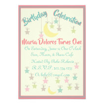 Cute First Birthday Invitation W/Sun, Moon & Stars