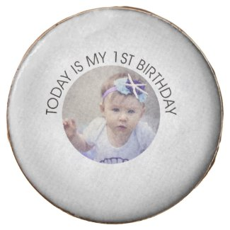 Cute First Birthday Party Cookie Personalize Photo