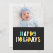 Cute First Christmas Holiday Photo Greeting