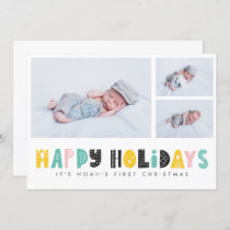 Cute  First Christmas Photo Holiday Greetings Card