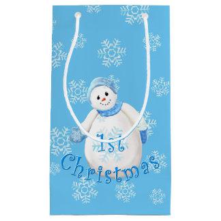 Cute First Christmas Snowman Small Gift Bag