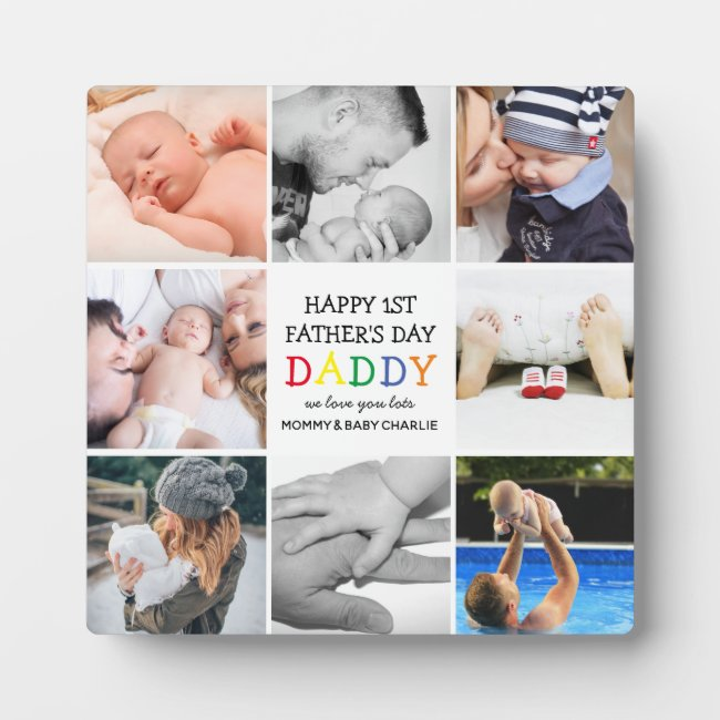Cute First Father's Day Daddy | Photo Collage Plaque