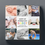 """Cute First Father's Day Daddy   Photo Collage Plaque<br><div class=""""desc"""">Create your very own special first fathers day gift with this cute photo collage plaque. Featuring 8 square photographs and the text 'Happy 1st Father's Day', the word DADDY in bright colorful letters, a we love you lots message and names. Makes a wonderful keepsake gift for the family to treasure...</div>"""