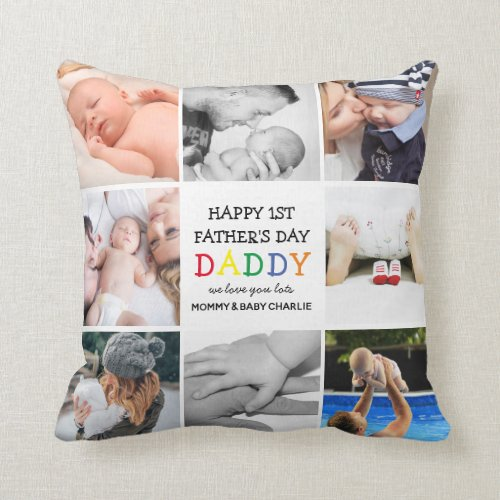 Cute First Father's Day Daddy   Photo Collage Thro Throw Pillow