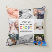 Cute First Father's Day Daddy   Photo Collage Throw Pillow