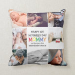 """Cute First Mother's Day Mommy  Photo Collage  Thro Throw Pillow<br><div class=""""desc"""">Create your very own special first mothers day gift with this cute colorful photo collage pillow. Featuring 8 square photographs and the text 'Happy 1st Mother's Day', the word MOMMY in bright colorful letters, a we love you lots message and names. Makes a wonderful keepsake gift for mom on Mothers...</div>"""
