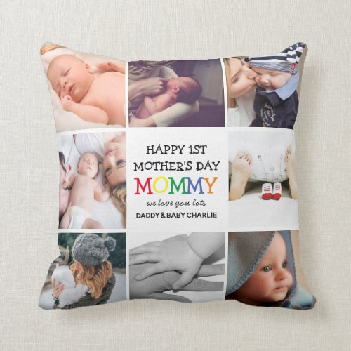 Cute First Mothers Day Mommy Photo Collage Throw Pillow