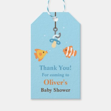 Toddler & Baby themed Cute Fish Bait Fishing Baby Shower Gift Tags