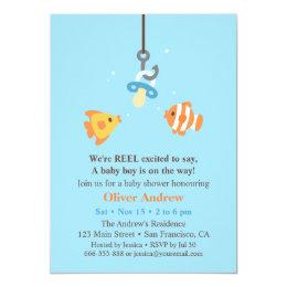 Cute Fish Bait Fishing Baby Shower Invitations