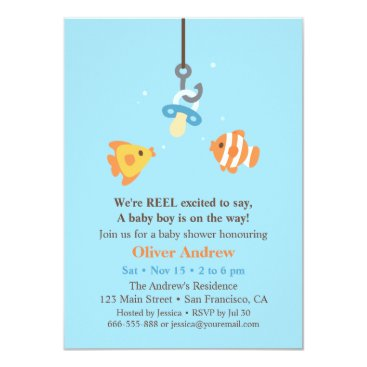 Toddler & Baby themed Cute Fish Bait Fishing Baby Shower Invitations