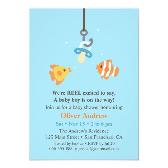 Cute Fish Bait Fishing Baby Shower Invitations Zazzle Com