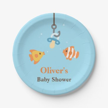Toddler & Baby themed Cute Fish Bait Fishing Themed Baby Shower Supplies Paper Plate