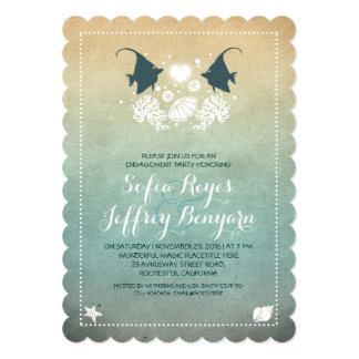 cute fish beach engagement party invitations