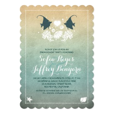 Beach Themed cute fish beach engagement party invitations