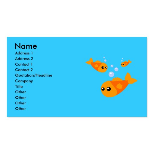 Cute Fish Business Cards Standard Business Cards