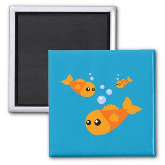 Cute Fish 2 Inch Square Magnet
