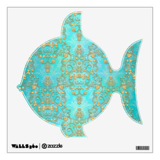 Cute Fish Turquoise Teal and Gold Damask Wall Decal