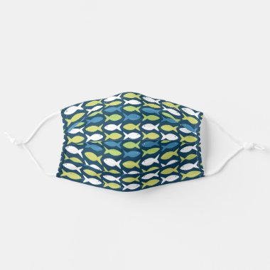 Cute Fish Under The Sea Nautical Lake Pattern Adult Cloth Face Mask