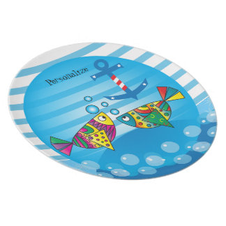Cute Fishy Bubbles - Baby Nursery Melamine Plate