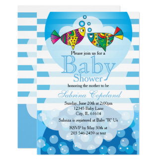 Cute Fishy Bubbles Baby Shower Theme Card
