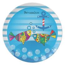 Cute Fishy Bubbles Baby Shower Theme Melamine Plate