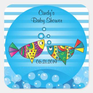 Cute Fishy Bubbles Baby Shower Theme Square Sticker