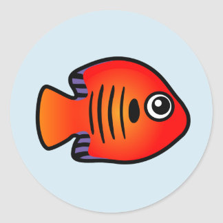 Cute Flame Angelfish Round Stickers