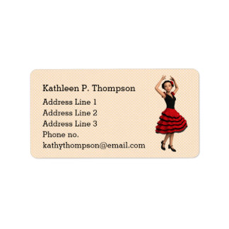 Cute Flamenco Dancer (Personalized) Label