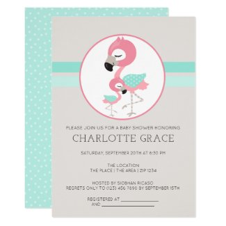 Cute Flamingo Bird Personalized Baby Shower Invitation
