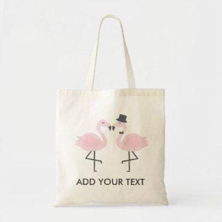 Cute Flamingo Bride & Groom Custom Text Tote