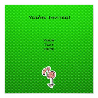 Cute Flamingo; Green Invitation