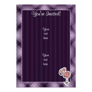 Cute Flamingo; Purple 5x7 Paper Invitation Card