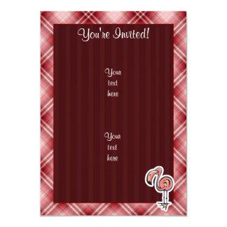 Cute Flamingo; Red Plaid 5x7 Paper Invitation Card
