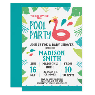 Pool party baby shower invitations zazzle cute flamingo tropical pool party baby shower invitation filmwisefo