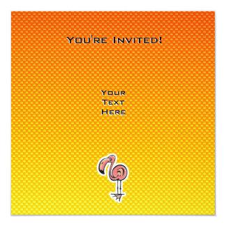 Cute Flamingo; Yellow Orange Invitation