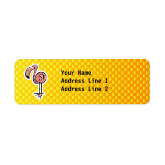 Cute Flamingo; Yellow Orange Return Address Label