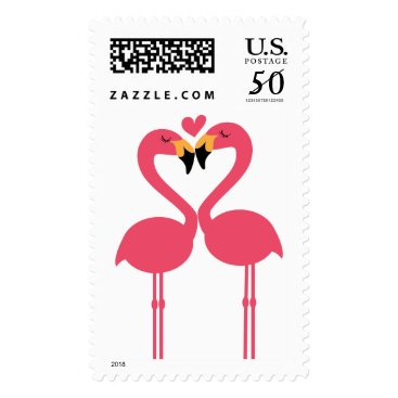 Valentines Themed Cute Flamingos in Love Forming a Heart Postage