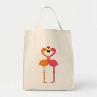 Cute Flamingos in Love Intertwined Forming a Heart Tote Bag