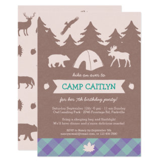 Cute Flannel Girls Camping Birthday Party Invite