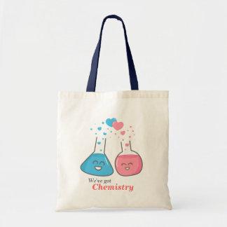 Cute flasks in love, we've got chemistry budget tote bag