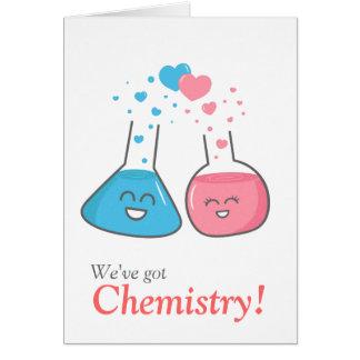 Cute flasks in love, we've got chemistry greeting card