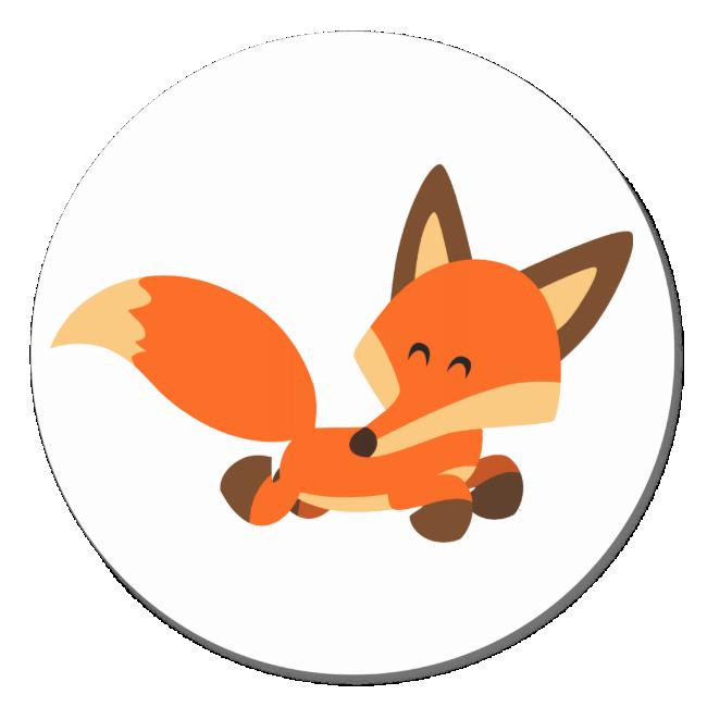 Cute Fleet Cartoon Fox Sticker