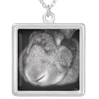 Cute Flemish Giant Nose Close-Up Silver Plated Necklace