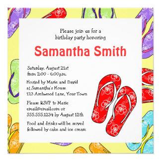 Cute Flip Flop Beach Themed Birthday Party Invite