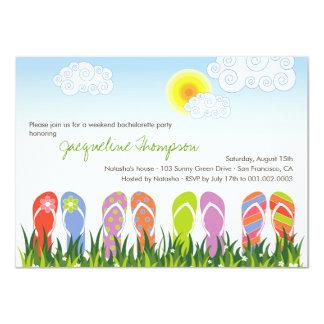 Cute Flip Flops Fun In The Sun Bachelorette Party Personalized Invites