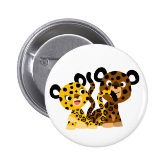 Cute Flirtatious Cartoon Jaguars Button Badge